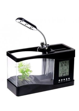 Multi color  . USB Desktop Aquarium Mini Fish Tank with Running Water - Akuarium Mini with LCD Display Black -