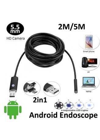 Multi color  . AN99 6-LED 5.5mm Lens IP67 Waterproof Android Video Endoscope Borescope Snake USB Cable 2M Inspection Camera -