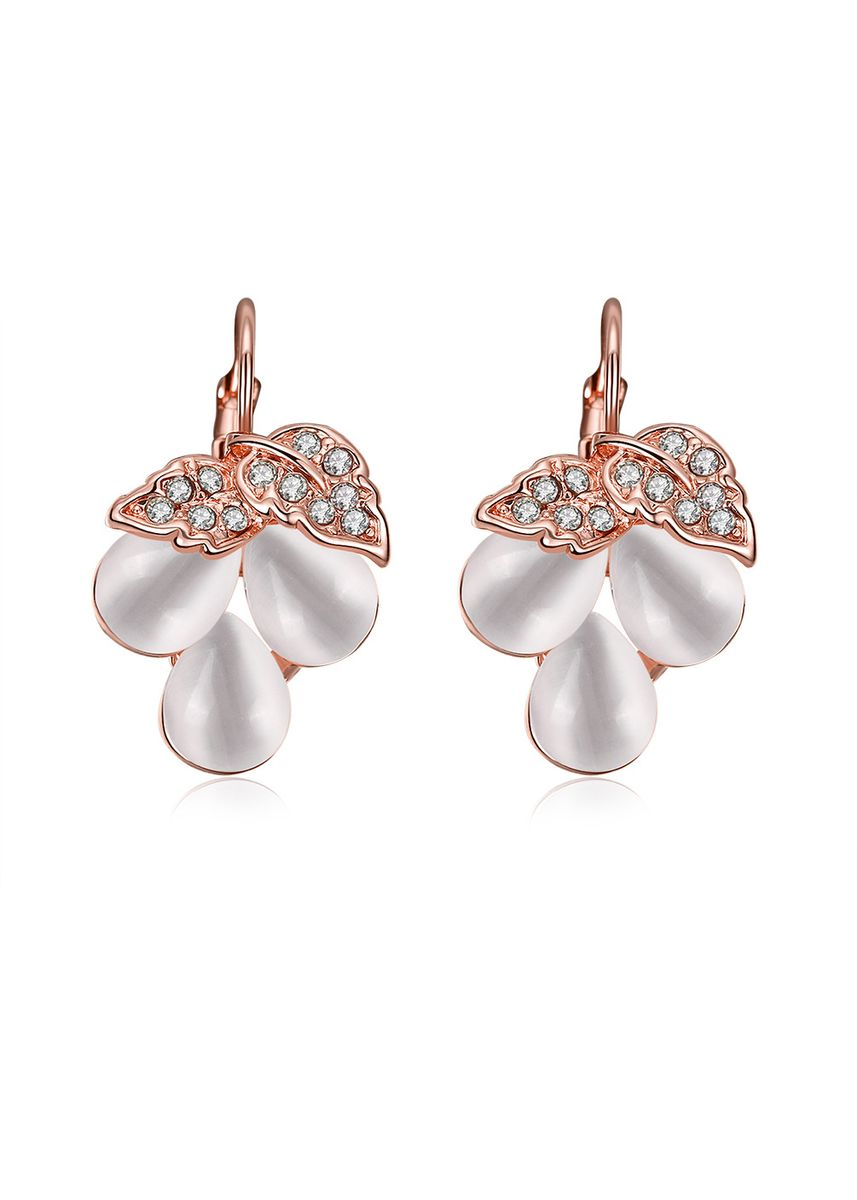 Gold color  . Tiaria Classic Round Hook & Earrings AKE083 Rose Gold Coated Aksesoris -