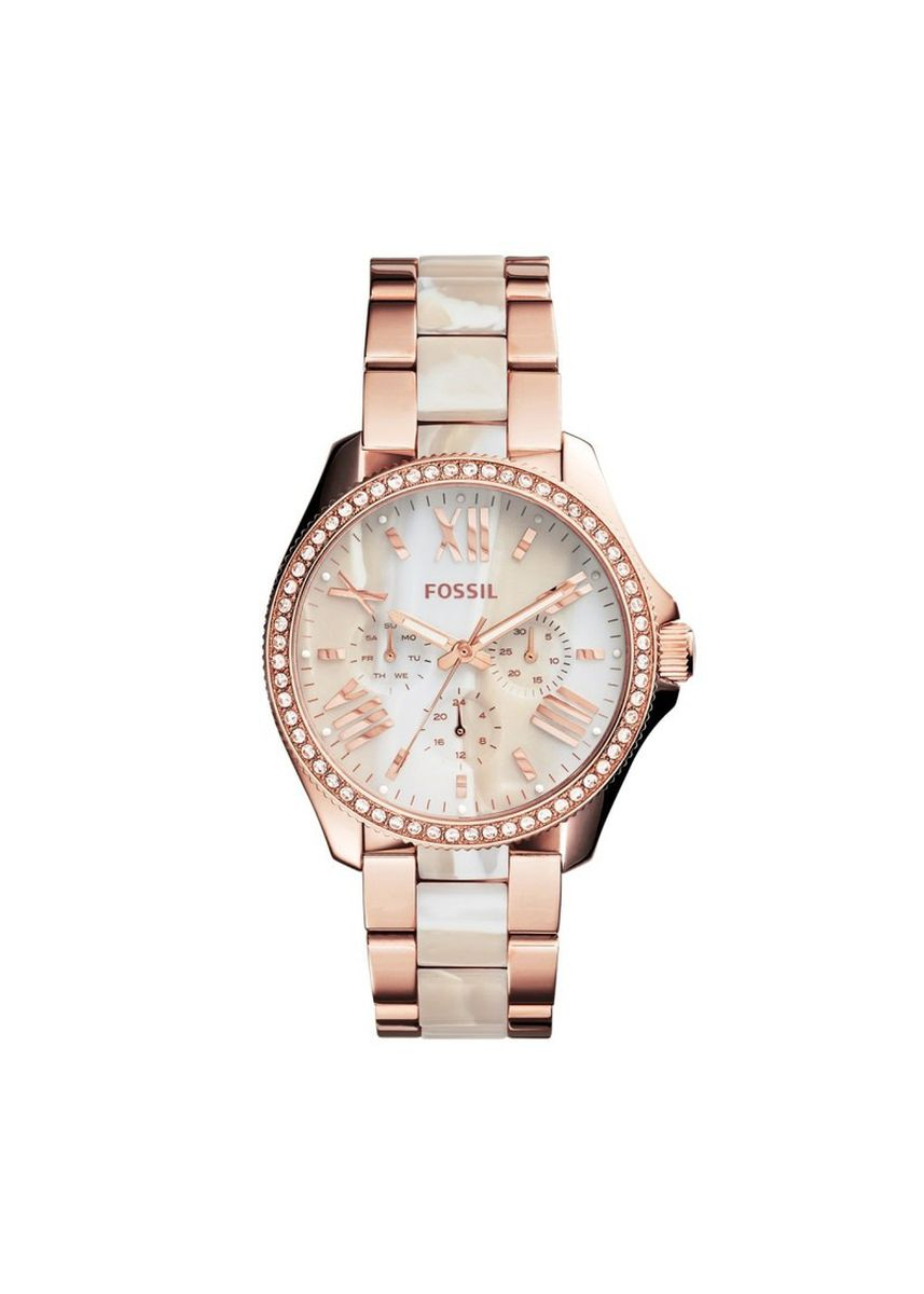Emas color Jam Kronograf . FOSSIL AM4616 D36H1984RGPT CHRONOGRAPH STAINLESS STEEL CERAMIC CHAIN LADIES - ROSEGOLD WHITE -