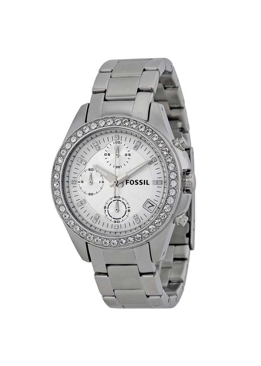 Perak color Jam Kronograf . FOSSIL ES2681 D38H1305SLV CHRONOGRAPHCHRONOGRAPH DATE STAINLESS STEEL CHAIN LADIES - SILVER -