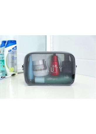 Grey color Travel Wallets & Organizers . New Travel Mesh Breathable Toiletry Bag (Large) -