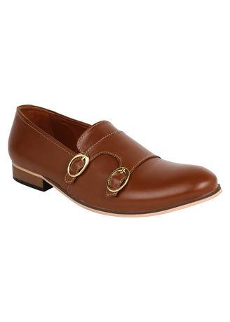 Tan color Formal Shoes . Lujo Stature Handmade Monk Shoes - Tan -