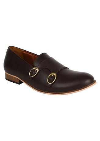 Brown color Formal Shoes . Lujo Stature Handmade Monk Shoes - Brown -