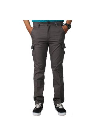 Grey color Casual Trousers and Chinos . CARGO MEN GREY -