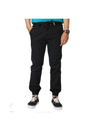 Black color Casual Trousers and Chinos . JOGGER MEN BLACK -