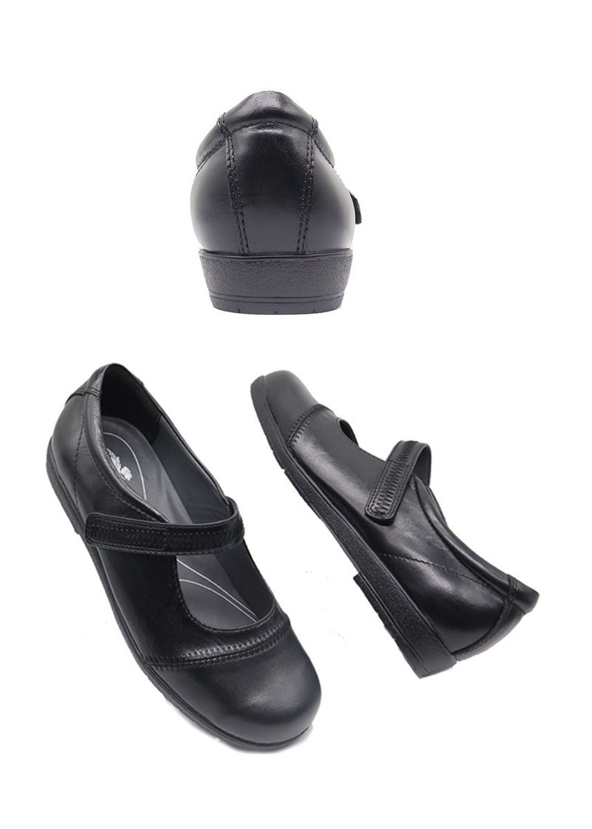 Black color Flats . Mary Janes  Leather Shoes -
