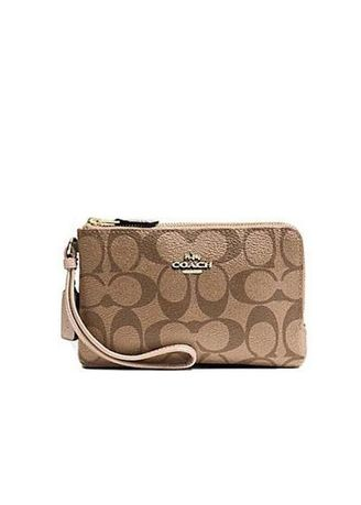 d7b15fa49f53 COACH กระเป๋าคล้องมือ DOUBLE CORNER ZIP WALLET IN SIGNATURE COATED CANVAS  F87591 IMCA9 (Khaki   Platinum)