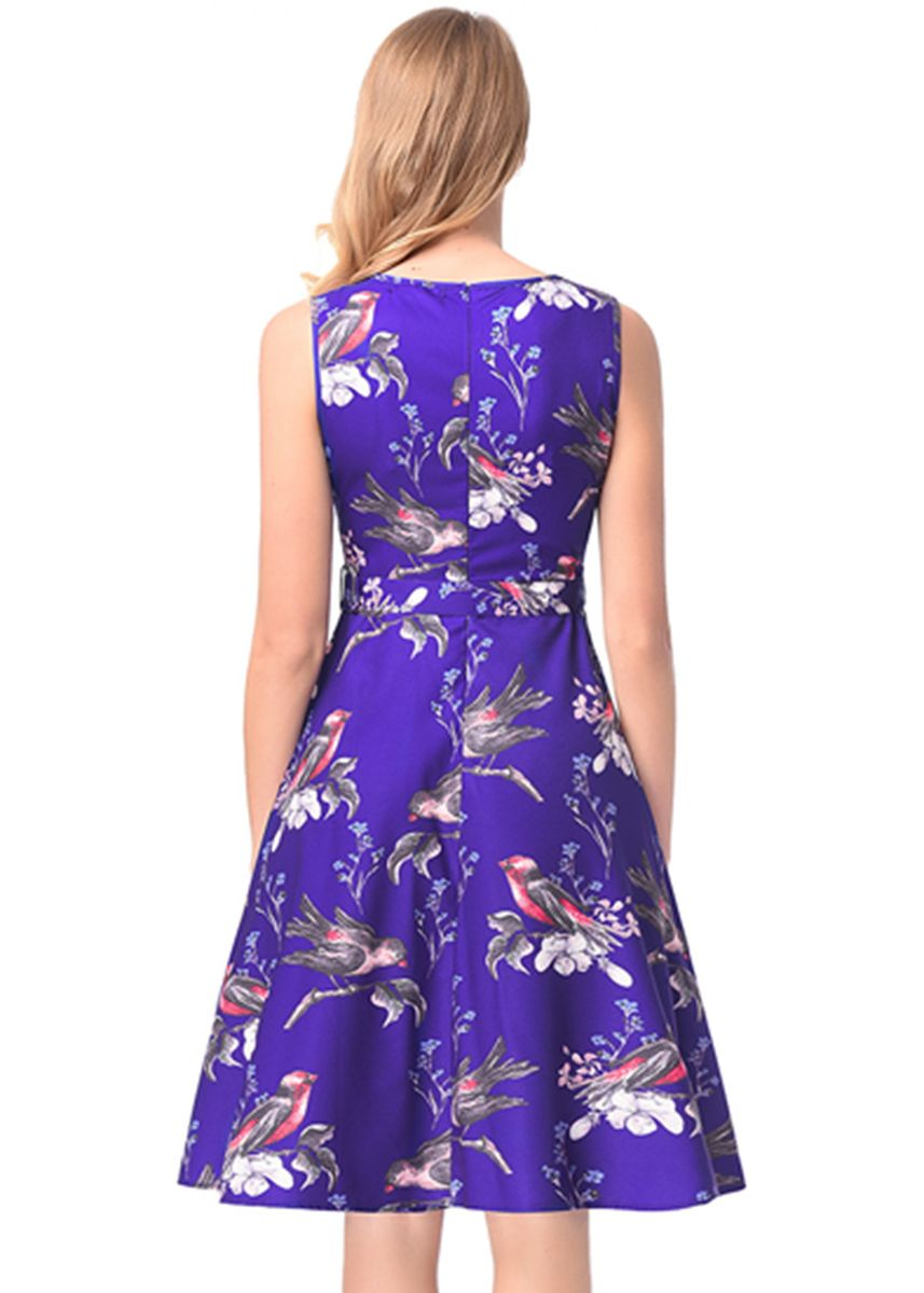 ฟ้า color เดรส . Women A Line Dress Hepburn Retro Flower Print Dress -