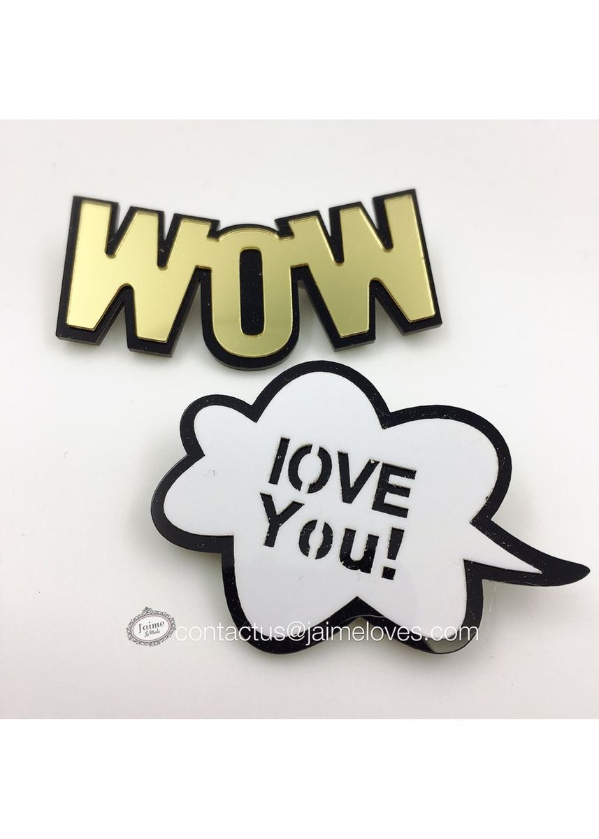 Multi color Other . WOW & LOVE YOU! BROOCH -