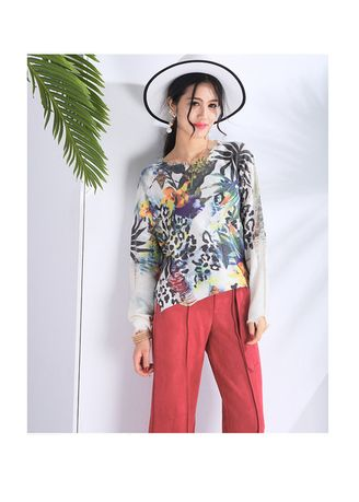 Multi color Tops and Tunics . Fashion Digital Printed Knitwear Floral Tops -
