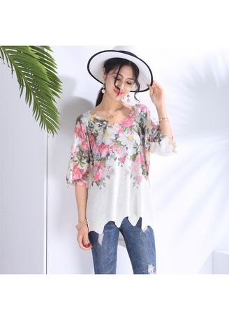 Multi color Tops and Tunics . Fashion Digital Printed Knitwear Tops -Rose -