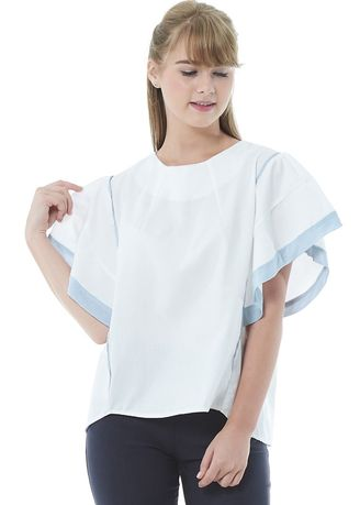 Tops and Tunics . Vines Amber White Light Blue Blouse -