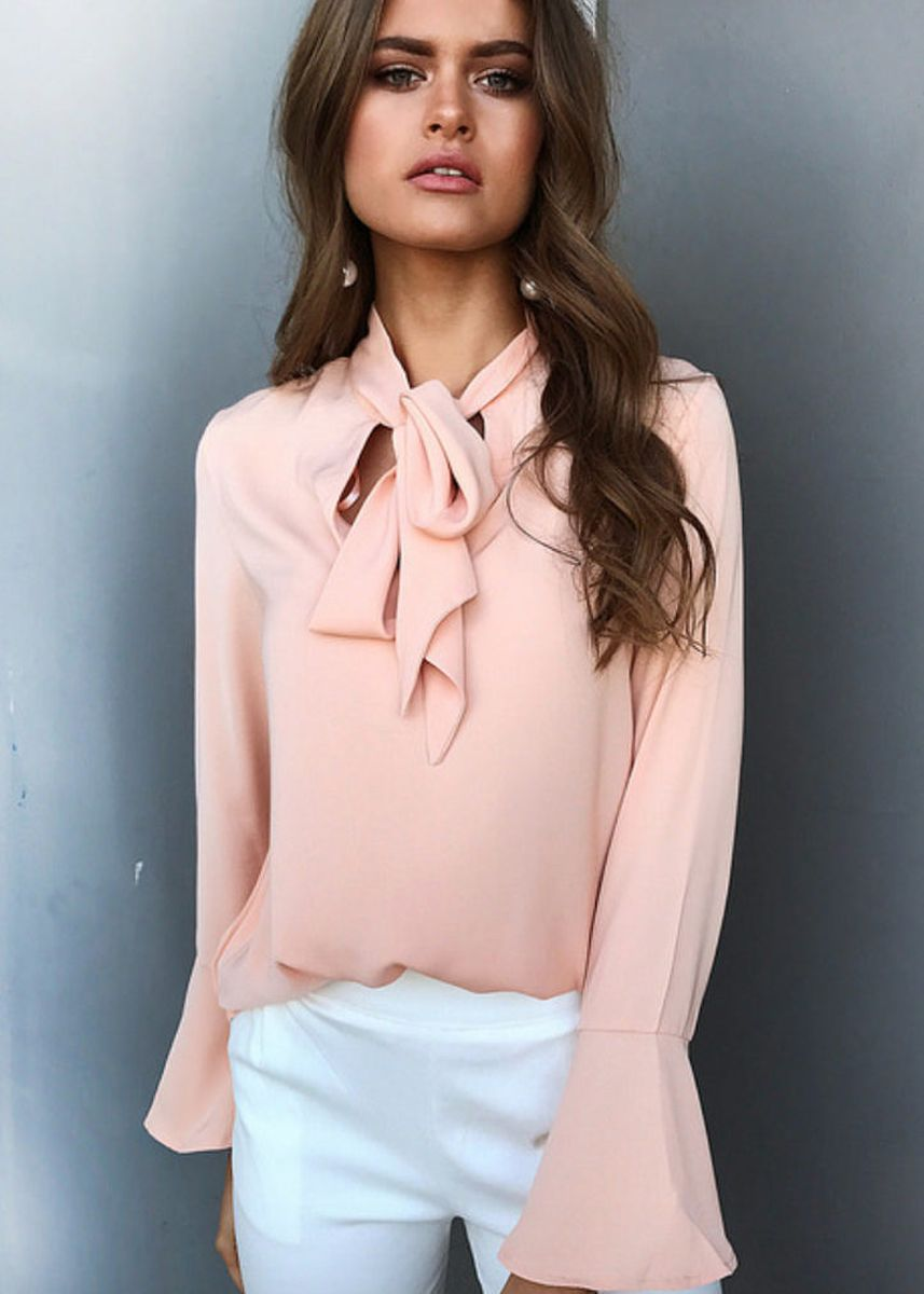 Pink color Tops and Tunics . Women Chiffon Blouse -