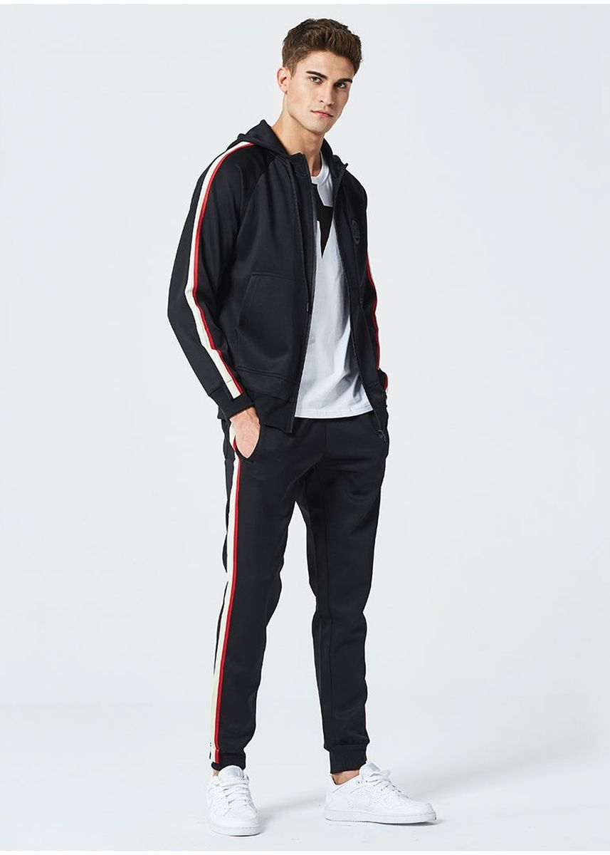 Black color Sports Wear . Men's Casual Striped sportswear set -