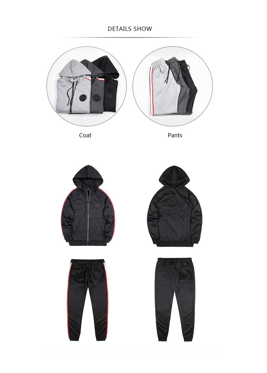 Grey color Sports Wear . Men's Casual Striped sportswear set -