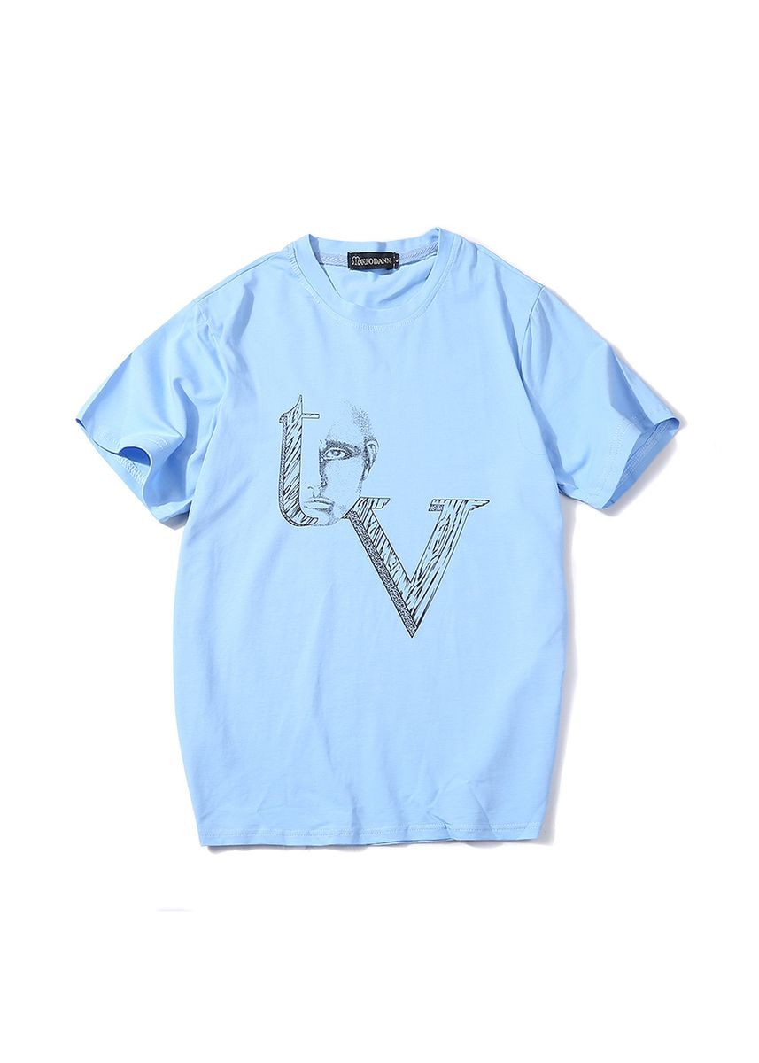 Blue color Sports Wear . Men's TV Printed T-shirt -