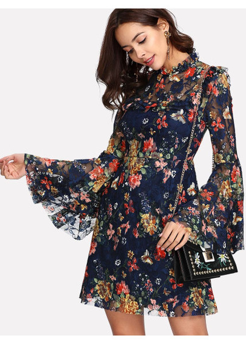 Blue color Dresses . Print Keyhole Back Bell Sleeve Dress -