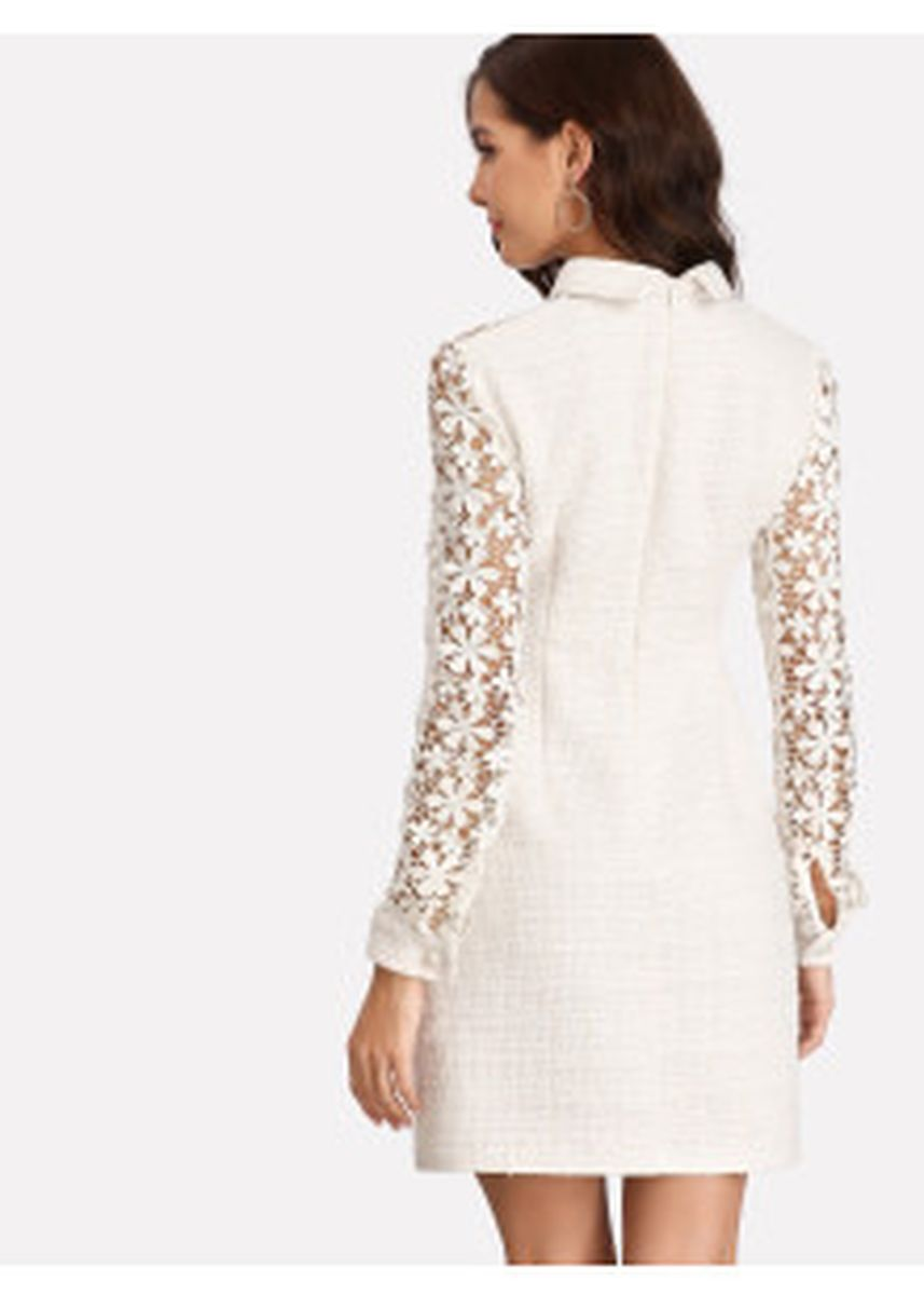 White color Dresses . Daisy Lace Tweed Dress -