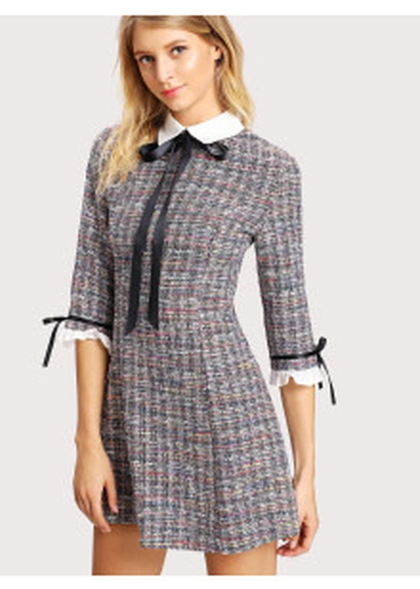 Grey color Dresses . Collar And Cuff Tweed Dress -
