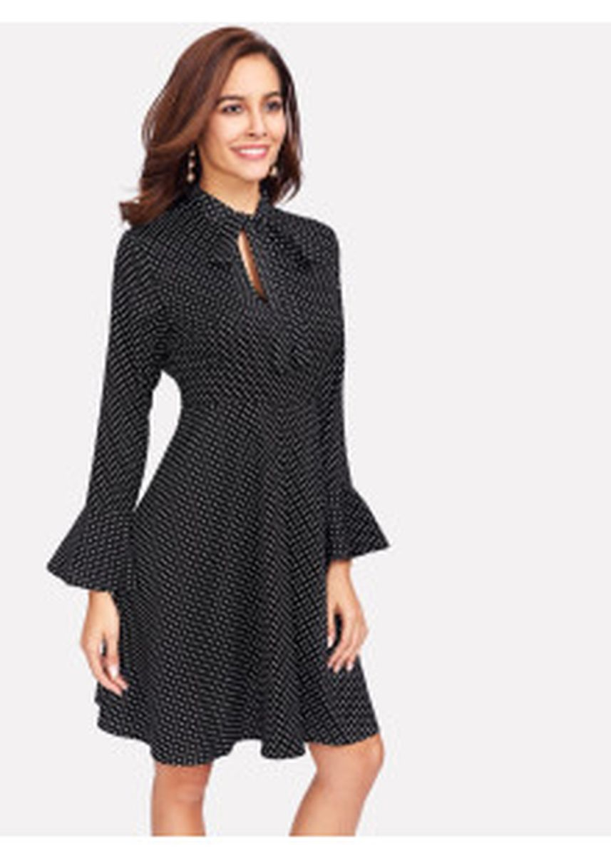 Black color Dresses .  Cuff Polka Dot Dress -