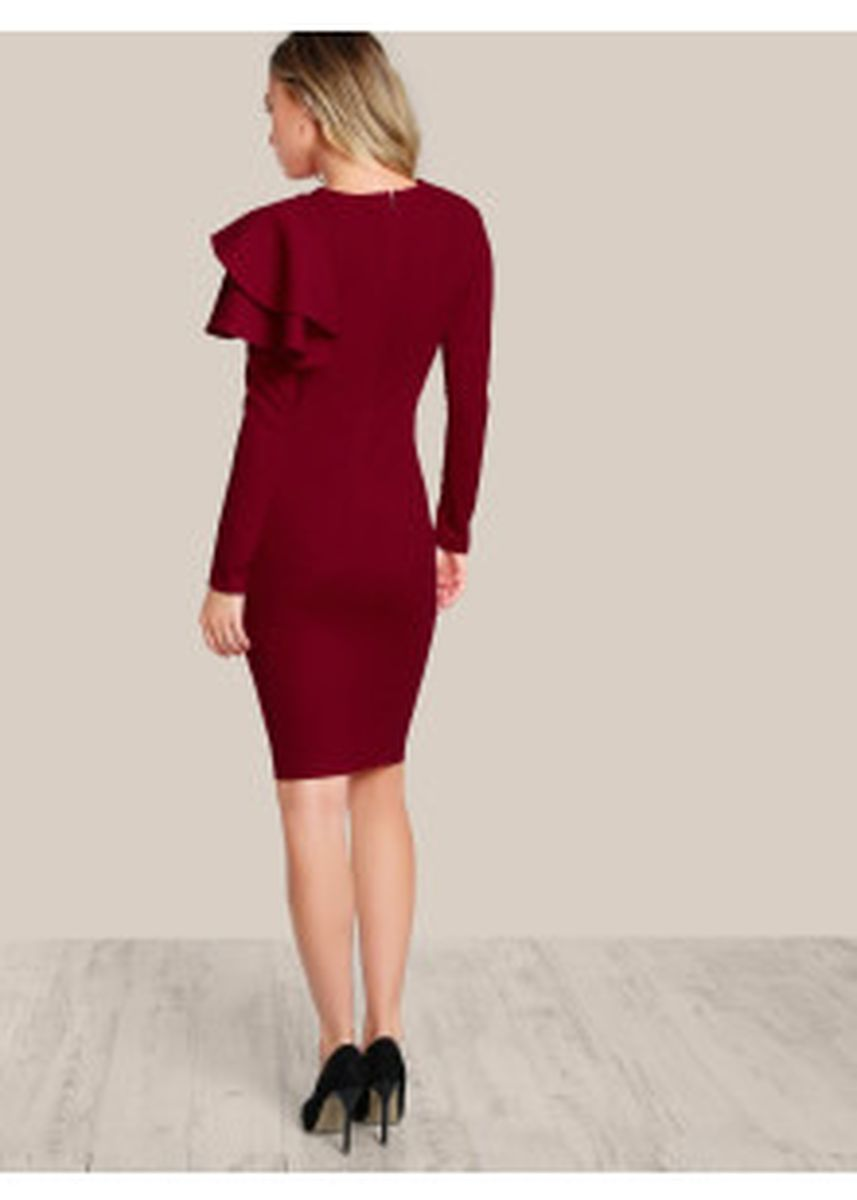 Maroon color Dresses . One Side Ruffle Dress -