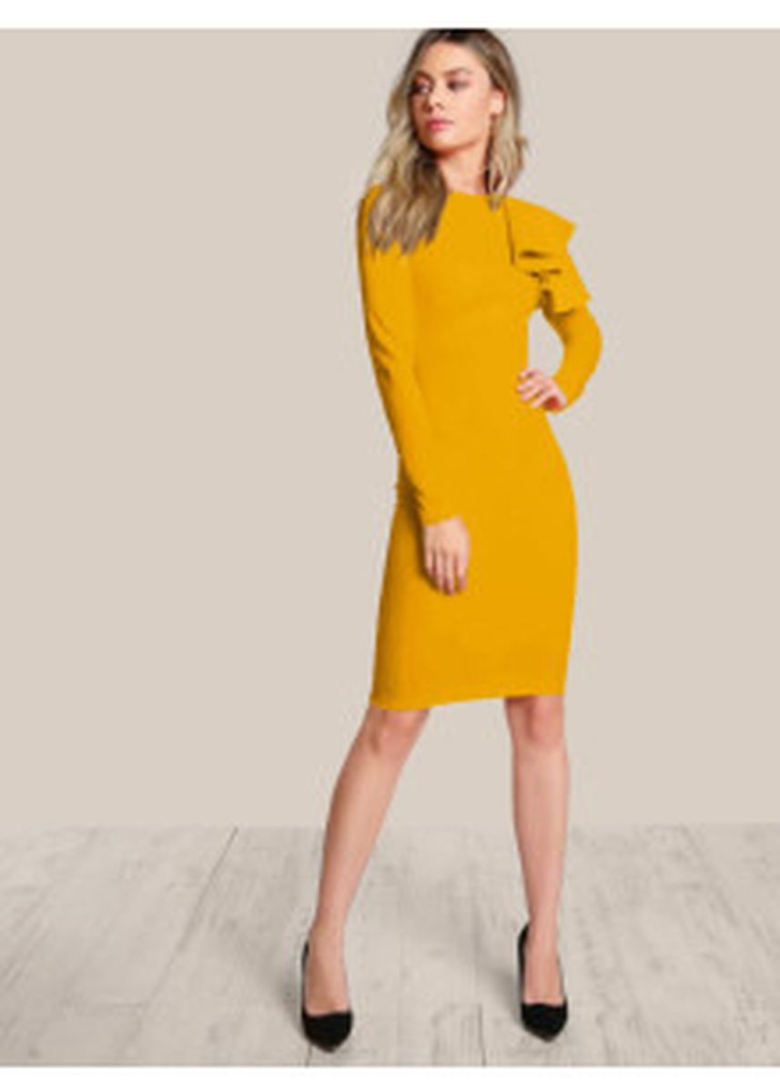Yellow color Dresses . One Side Ruffle Dress -