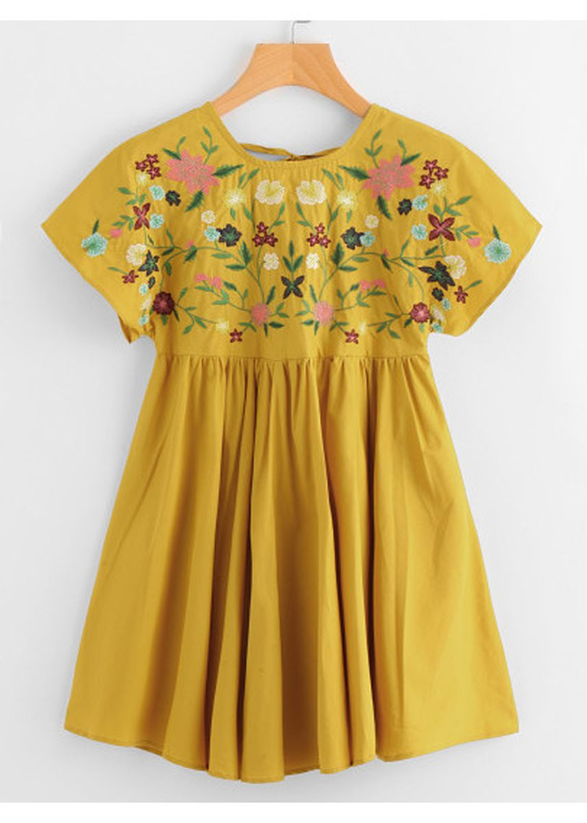 Yellow color Dresses . Flower Embroidered V Back Dress -