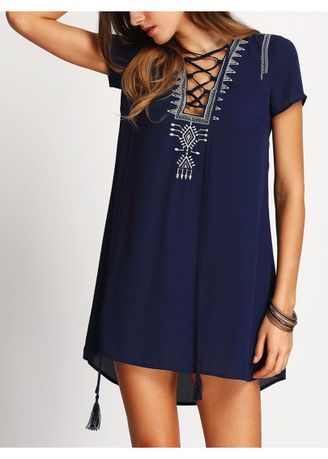 Navy color Dresses . Lace Up Embroidered Dress -