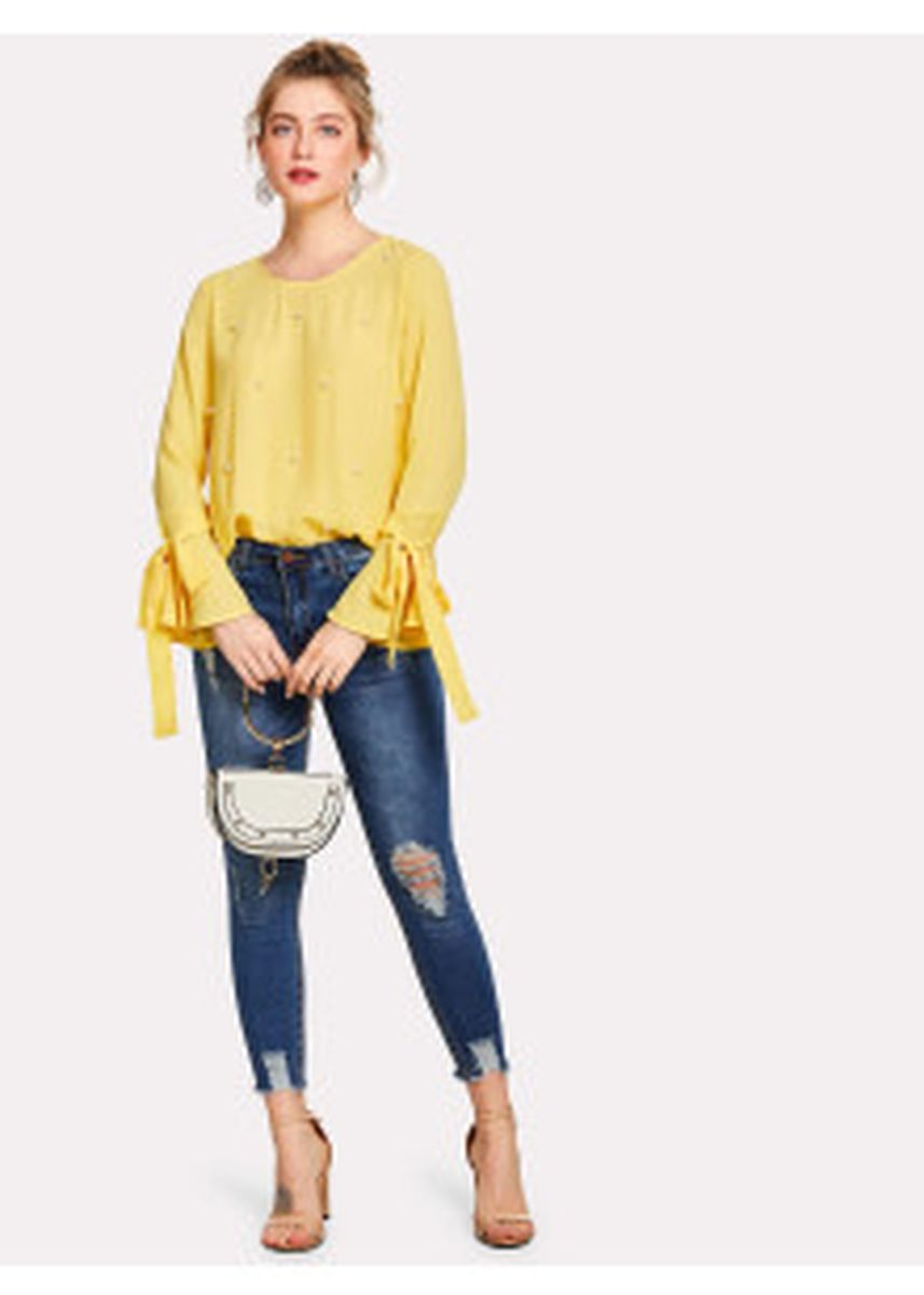 Yellow color Tops and Tunics . SHEIN Pearl Embellished Bow Tied Bell Cuff Blouse -