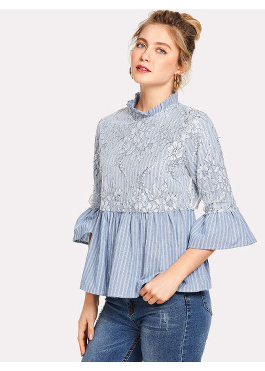 Blue color Tops and Tunics . Floral Lace Applique Striped Smock Top -