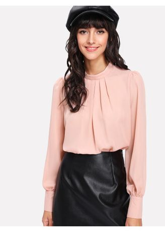 Pink color Tops and Tunics . Stand Collar Pleated Blouse -