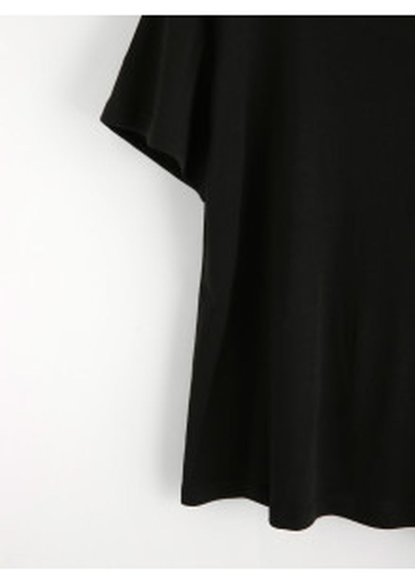 Black color Tops and Tunics . Rose Embroidered Patch Criss Cross Back Tee -