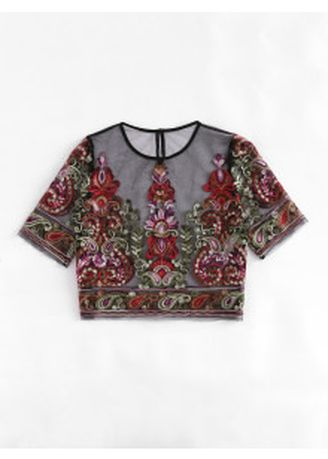 Multi color Tops and Tunics . SHEIN Flower Embroidery Mesh Crop Top -