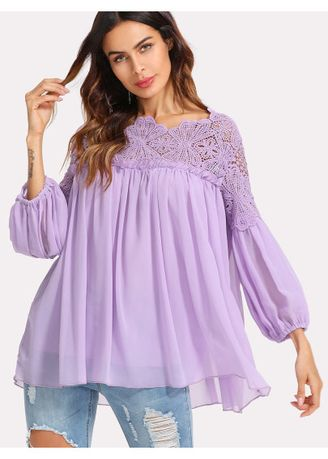 Purple color Tops and Tunics . SHEIN Guipure Lace Yoke Semi Sheer Smock Top -