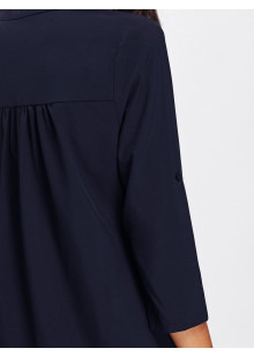 Navy color Tops and Tunics . Rolled Sleeve Dip Hem Blouse -