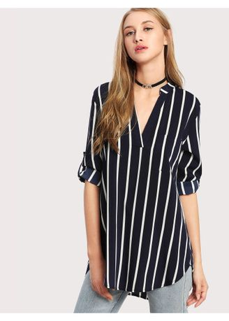 Black color Tops and Tunics . Vertical Striped High Low Curved Hem Blouse -