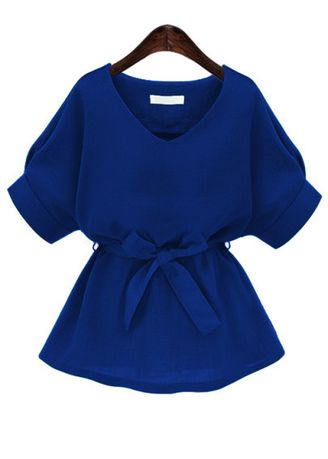 Blue color Tops and Tunics . Royal Blue Plunging Neckline Bow Tie Waist Blouse -