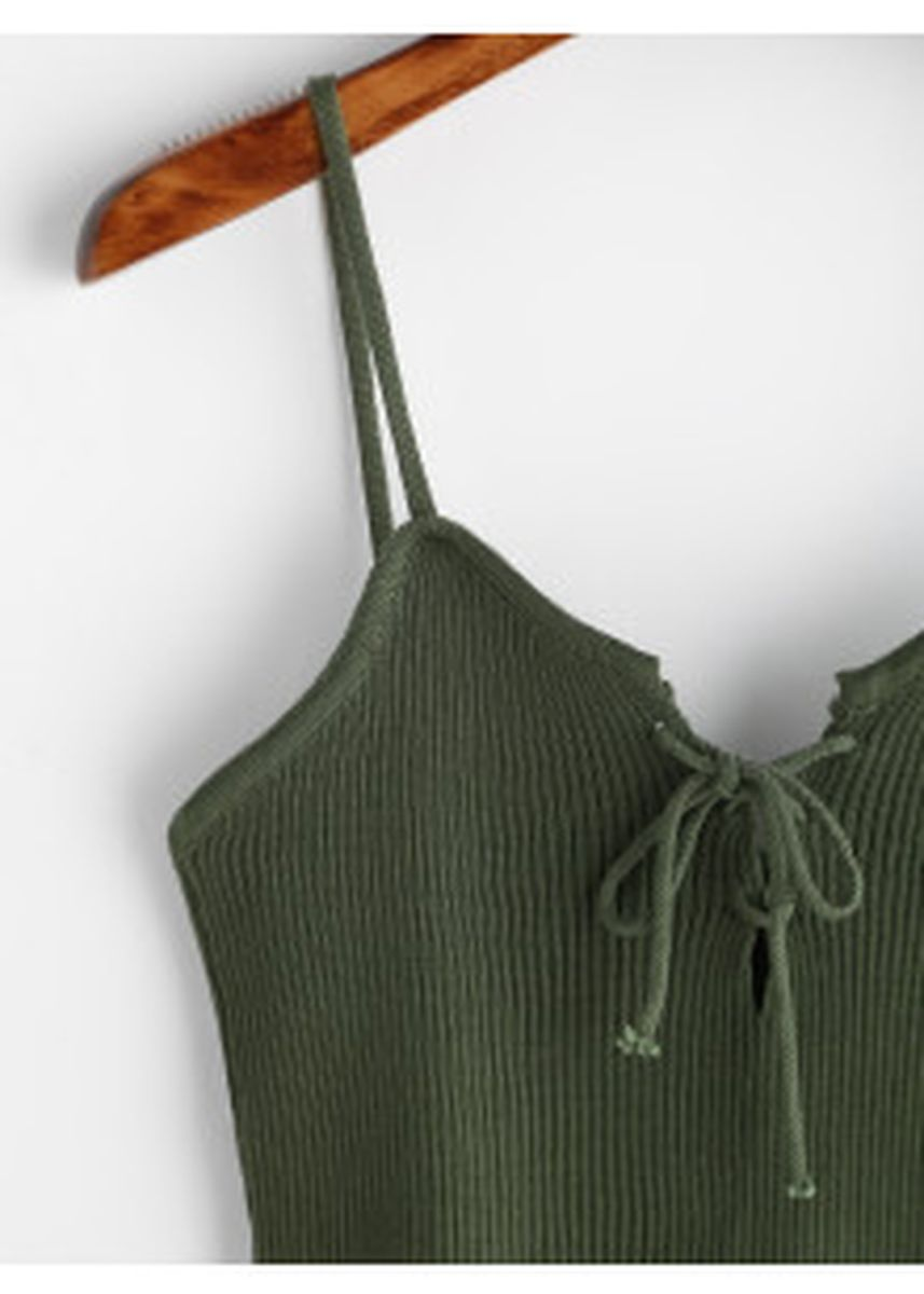 Green color Tops and Tunics . Lace Up Front Ribbed Knitted Cami Top -