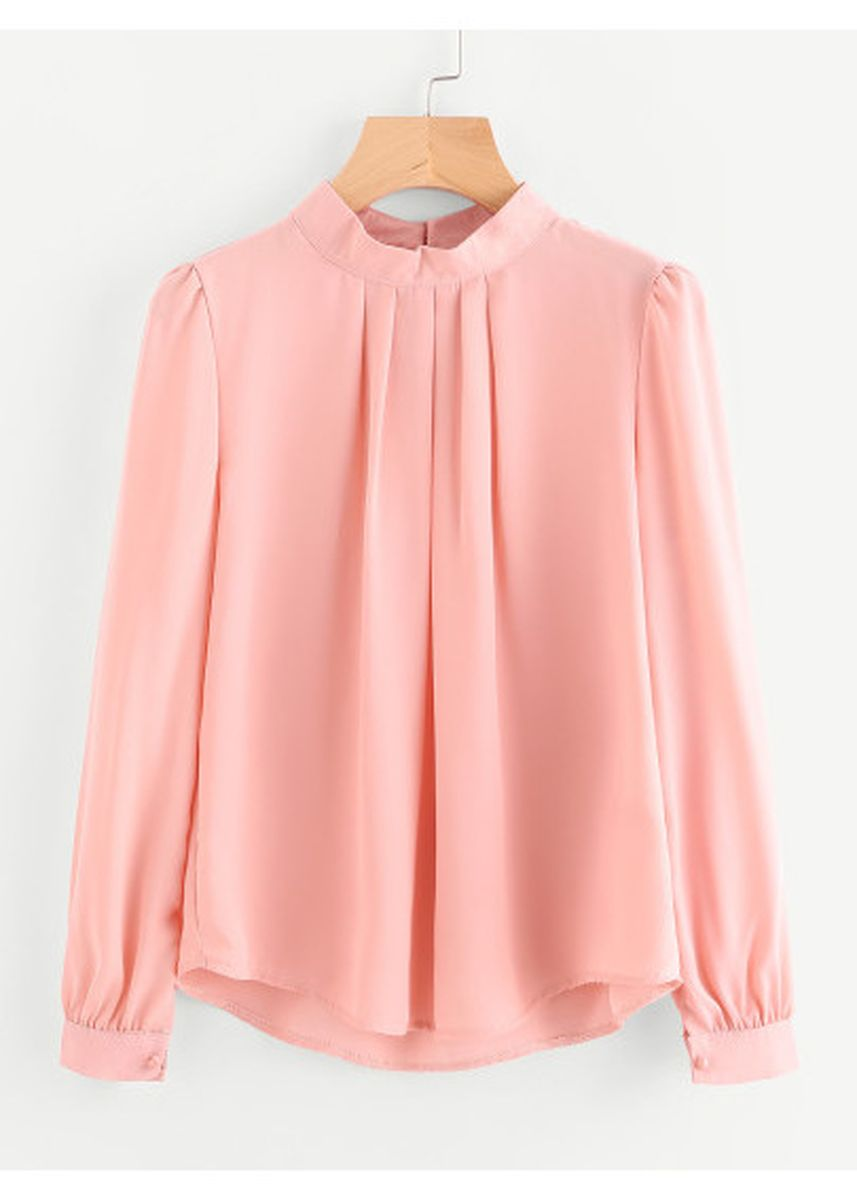 Pink color Tops and Tunics . Pleated Detail Button Keyhole Back Chiffon Blouse -