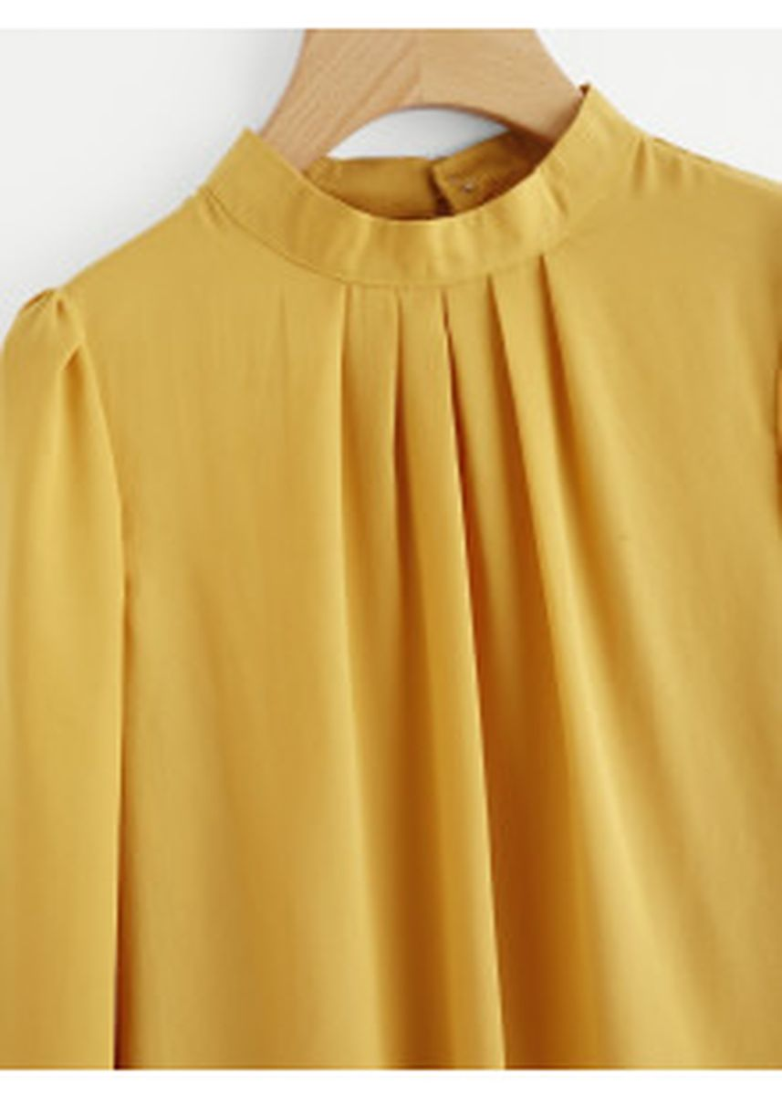 Yellow color Tops and Tunics . Pleated Detail Button Keyhole Back Chiffon Blouse -