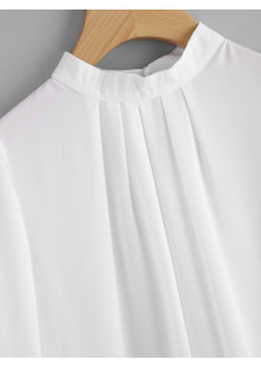 White color Tops and Tunics . Pleated Detail Button Keyhole Back Chiffon Blouse -