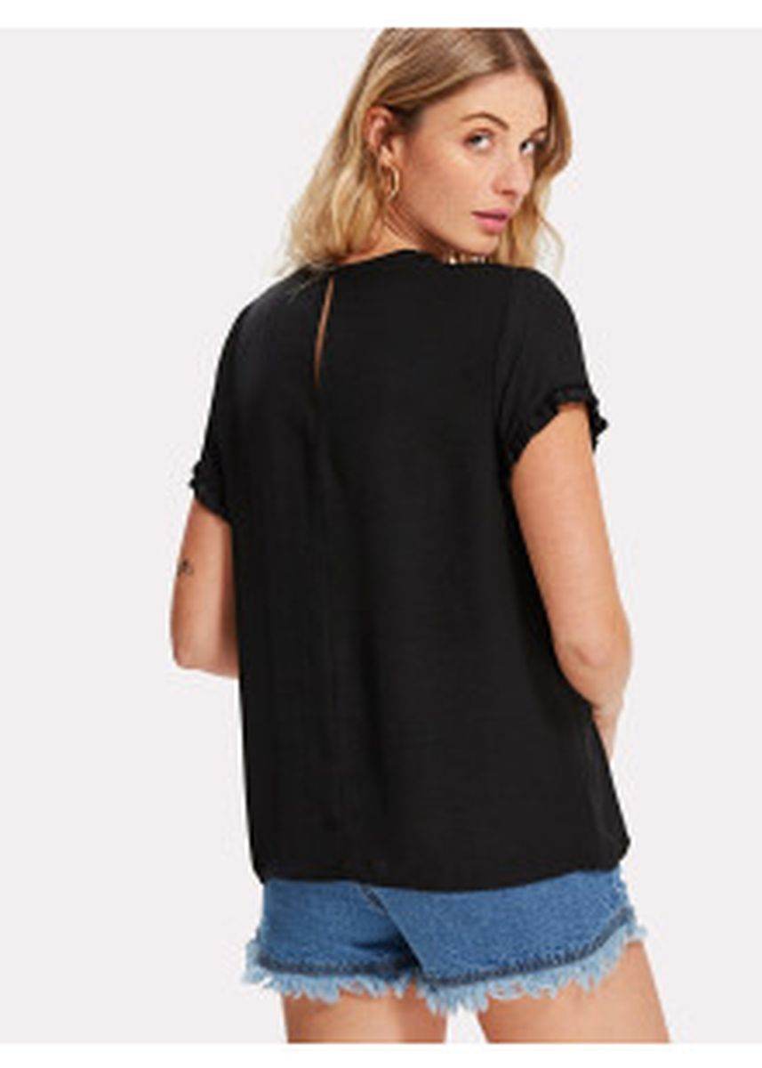 Black color Tops and Tunics . SHEIN Lace Insert Frill Cuff Top -