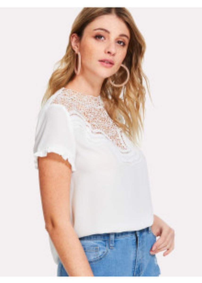 White color Tops and Tunics . SHEIN Lace Insert Frill Cuff Top -