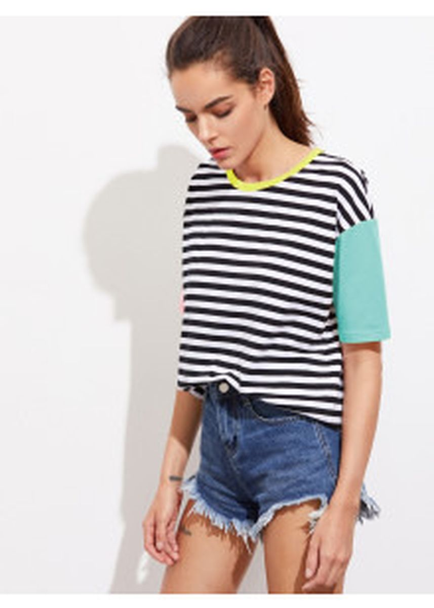 Multi color Tops and Tunics .  Contrast Striped Tee -