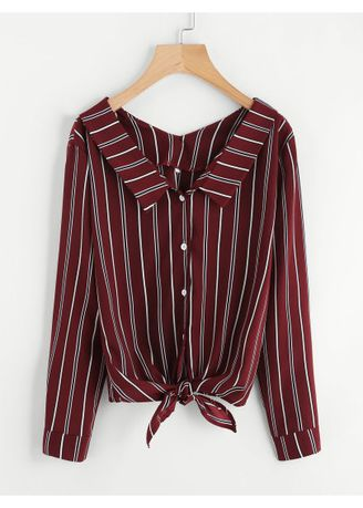 Maroon color Tees & Shirts . Vertical Striped Knotted Hem Shirt -