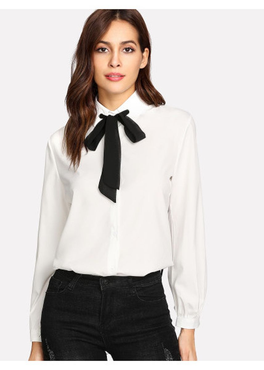 White color Tees & Shirts . Contrast Tie Neck Shirt -