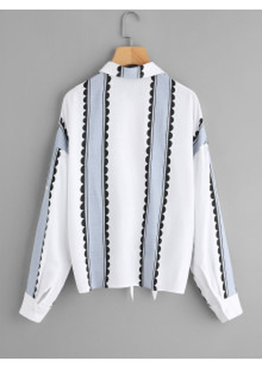 White color Tees & Shirts . Button Up Knotted Hem Shirt -