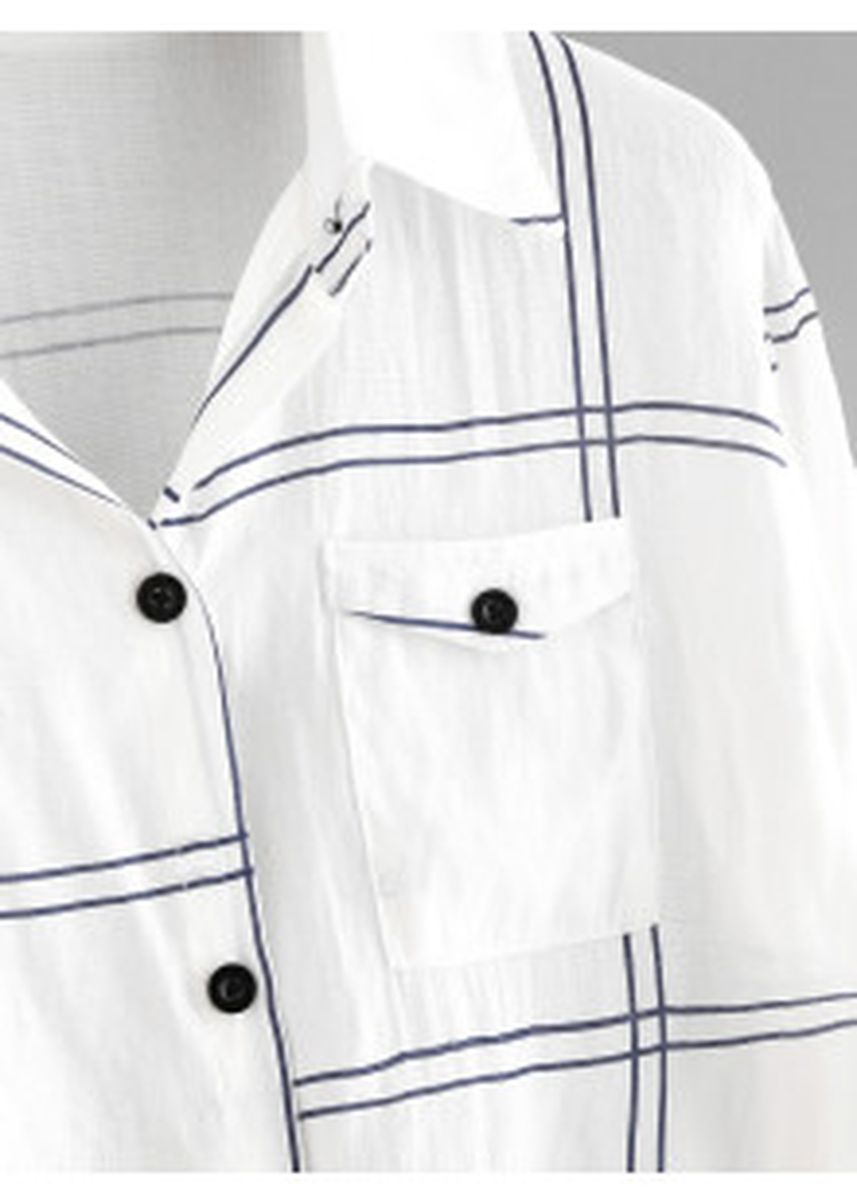 White color Tees & Shirts . Rolled Sleeve Checked Knot Front Shirt -