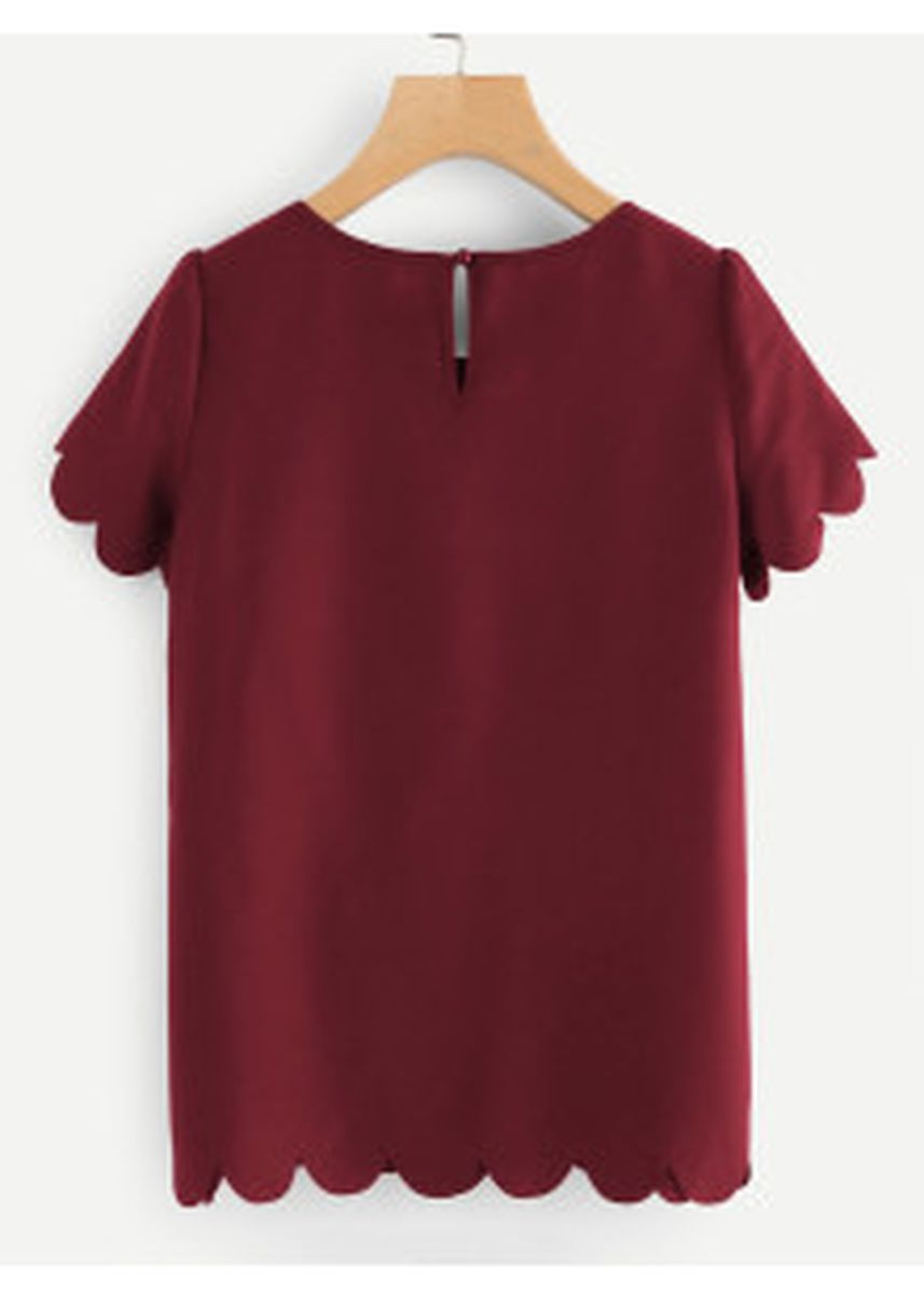 Maroon color Tops and Tunics . Tulip Sleeve Scallop Trim Keyhole Top -